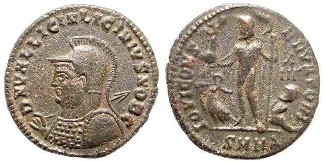 Ancient Coins - Licinius II, 308-324 AD. AE Follis (3.35 gm, 19mm). Heraclea mint, 321-324 AD. RIC VII, 54