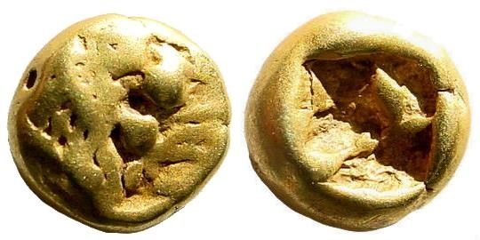 Ancient Coins - Lydian Kingdom. Alyattes II. Circa 610-560 BC. EL Hemihekte - 1/12 Stater (1.16 gm, 8mm). Sardes mint. Weidauer group XV, 80