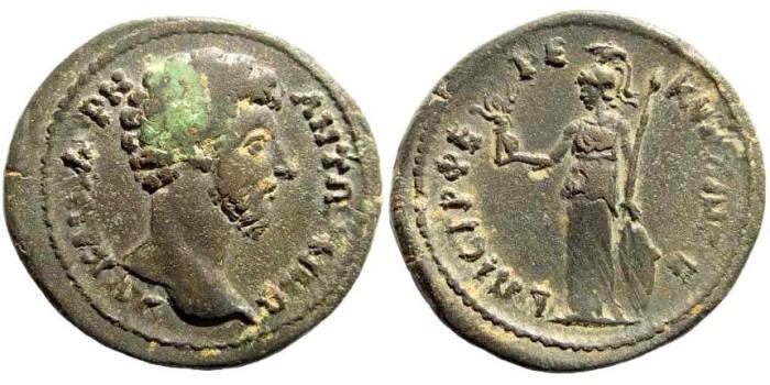 Ancient Coins - Aiolis, Aigai. Marcus Aurelius, 161-180 AD. AE 27mm (10.23 gm). Pherekydos magistrate. E. Babelon, Inventaire Sommaire de la Collection Waddington #1265. Rare