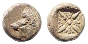 Ancient Coins - Ionia, Miletos, Late 6th- early 4th century BC, 1/12th Stater (1.09 gm, 9mm). BMC 14.185,14