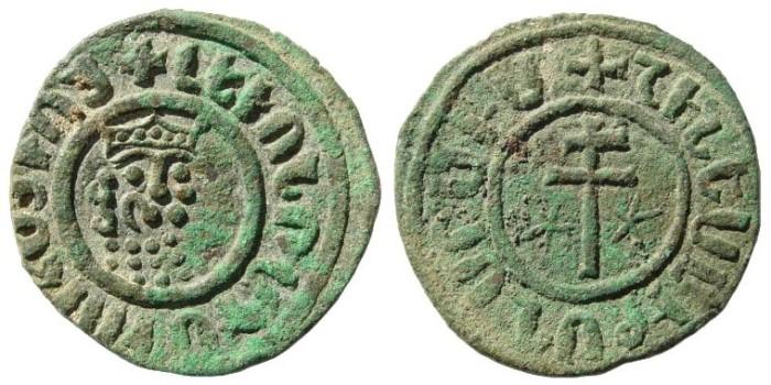 Ancient Coins - Kingdom of Cilician Armenia. Levon I, 1198-1219. AE Tank (7.43 gm, 29mm). Nercessian 303Nercessian 303