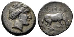 Ancient Coins - Thessaly, Larissa. Late 4th century BC. AE Dichalkon (2.78 gm, 16.5mm). Cf. BCD 390. Rare variant