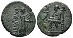 Ancient Coins - Ionia, Kolophon. Circa 50 BC. AE Hemiobol (5.79 gm, 21mm). Pytheos, magistrate. SNG Copenhagen 186-7