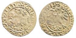 World Coins - Poland/ Lithuania. Sigismund II August. AR Half Grosz (1.18 gm, 19mm). 1560. Vilnius mint
