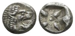 Ancient Coins - Ionia, Miletos. Late 6th-early 4th century BC. AR 1/12th Stater (1.14 gm, 9mm). SNG Helsinki II, 264