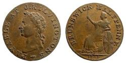 World Coins - Britain, John Kilvington, 1795. Copper Halfpenny (7.37 gm, 29mm). Conder p.217,63