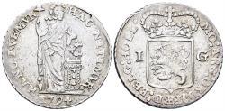 World Coins - Netherlands, Holland Province. AR Gulden (10.49 gm, 32mm). Dated 1794. Delm 1179