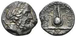 Ancient Coins - Karia, Myndos. Early 2nd century BC. AR Drachm (3.36 gm). Theodotos Magistrate. BMC Caria p. 134. 4-5