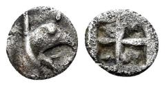 Ancient Coins - Ionia, Teos. Circa 475-450 BC. AR Tetartemorion (0.24 gm, 6mm). SNG Kayan 602