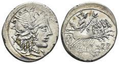 Ancient Coins - Cn. Carbo. 121 BC. AR Denarius (3.91 gm, 21mm). Rome mint. Crawford 279/1
