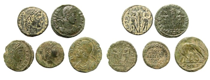 Ancient Coins - Lot of five late Roman coins, 4th century AD. 13mm to 16mm