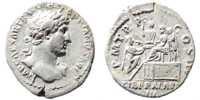 Ancient Coins - Hadrian, 117-138 AD. AR Denarius (2.93 gm, 18mm). Struck circa 119-125 AD. RIC II 132; BMCRE 300; RSC 913a