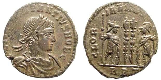 Ancient Coins - Constantius II, as Caesar, 324-337 AD. AE Silvered Follis (2.31 gm, 17mm). Rome mint, 330-331 AD. RIC VII 337