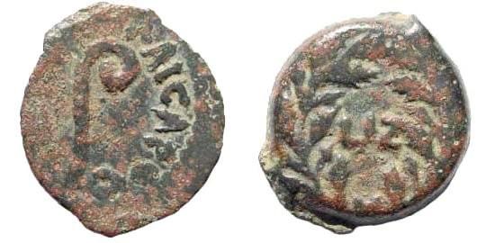 Ancient Coins - Judaea, Roman Procurators. Pontius Pilate, 26-36 AD. AE Prutah (2.27 gm, 16mm). Dated year 17, 30 AD. Hendin 649