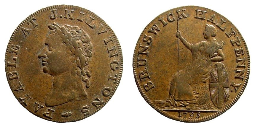 World Coins - Britain, John Kilvington, 1795. Copper Halfpenny (7.37 gm, 29mm). Conder p.217,63