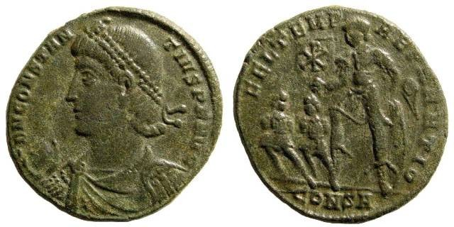 Ancient Coins - Constantius II, 337-361 AD, AE 2/ AE 22mm (3.83 gm). Constantinople mint 346-350 AD. LRBC 2010