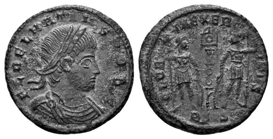 Ancient Coins - Delmatius, 335-337 AD, AE 16mm (1.58 gm). Siscia mint. RIC 256