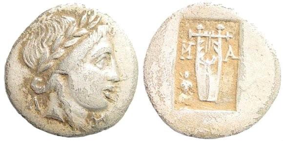 Ancient Coins - Lykian League, Masikytes. Period IV. Circa 42 BC. AR Hemidrachm/ Kitharephoroi (1.63 gm, 16mm). Troxell -