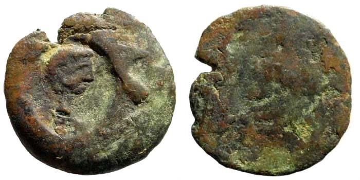 Ancient Coins - Countermark Augustus. Messenia, Messene. Augustus. 27 BC- 14 AD. AE Hemiobol or Hexachalkon (2.82 gm, 20mm).. Howgego 57. Very rare