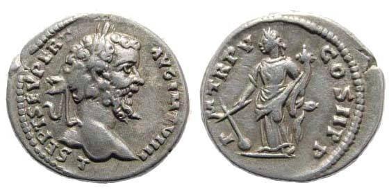 Ancient Coins - Septimius Severus, 193-211 AD. AR Denarius (3.24 gm). Laodicea mint. Struck 197 AD. RSC 442a