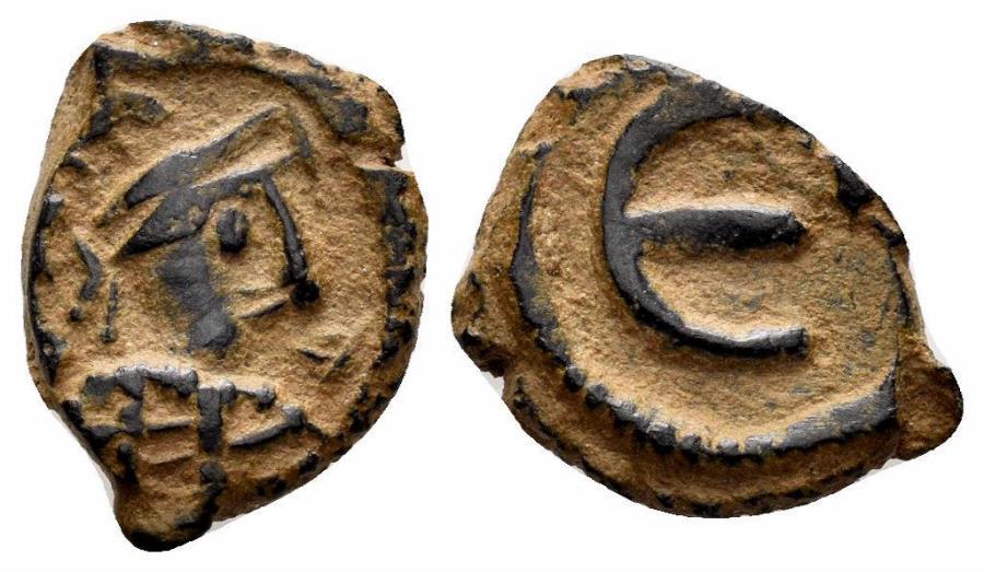 Ancient Coins - Maurice Tiberius (?), 582-602 AD. AE Pentanummium (1.64 gm, 13mm). Imitative issue