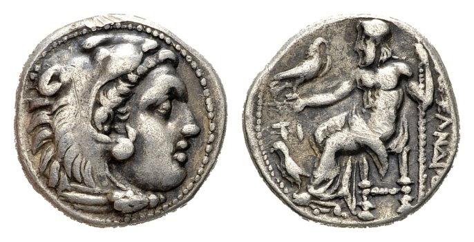 Ancient Coins - Macedonian Kindom. Alexander III 'the Great'. 336-323 BC. AR Drachm (4.18 gm, 17mm). Sardes mint. Struck under Philip III Arrhidaios. Price 2617