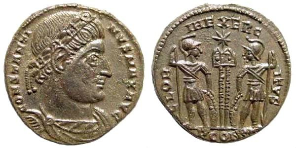 Ancient Coins - Constantine I, 307-337 AD. AE Silvered Follis (2.76 gm, 17mm). Arles mint, 330 AD. RIC VII 345