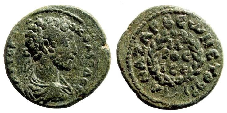 Ancient Coins - Kilikia, Anazarbos. Commodus, 177-192 AD. AE 21mm (6.29 gm). Dated CY 199 (180/1 AD). Ziegler, Anazarbos 210 (Vs2/Rs4)