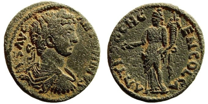 Ancient Coins - Pisidia, Antioch. Caracalla, 198-217 AD. AE 21 (5.05 gm, 23mm). Cf. SNG France 1178