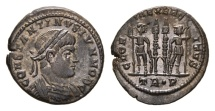 Ancient Coins - Constantine II, as Caesar, 317-337 AD. AE Follis (3.15 gm, 18mm). Treveri (Trier) mint. Struck 330-335 AD. LRBC 56