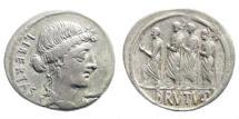 Ancient Coins - M. Junius Brutus, 54 BC. AR Denarius (3.53 gm, 20mm). Sydenham 906a; Crawford 433/1