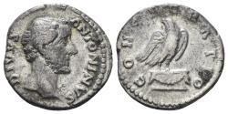 Ancient Coins - Divus Antoninus Pius. Died 161 AD. AR Denarius (3.23 gm, 18mm). Rome mint. RIC III 431 (Marcus Aurelius)