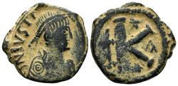 Ancient Coins - Justin I. 518-527. AE Half Follis (9.06 gm, 25mm). Constantinople mint. SB 69