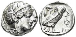 Ancient Coins - Attica, Athens. Circa 454-404 BC. AR Tetradrachm (17.16 gm, 25mm). Kroll 8; HGC 4, 1597