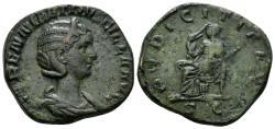 Ancient Coins - Herennia Etruscilla. Augusta, 249-251 AD. AE Sestertius (14.83 gm, 28mm). Rome mint, struck 250 AD. RIC IV 136b