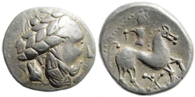 "Ancient Coins - Celtic, Pannonia. ""Audoleonmonogram-type"". 3rd-2nd century BC. AR Tetradrachm (13.50 gm, 24mm). Dembski 1348; Göbl, Ostkelten 429"