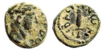 Ancient Coins - Judaea, Sebaste. Domitian, 81-96 AD. AE 10mm (0.96 gm). RPC II 2230; Rosenberger 11; BMC 6. Very rare