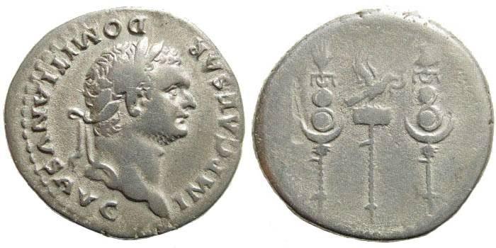 Ancient Coins - Domitian. 81-96 AD. AR Cistophoric Tetradrachm (10.45 gm, 28mm). Ephesus (or Rome) mint. Struck 82 AD. RIC I 227