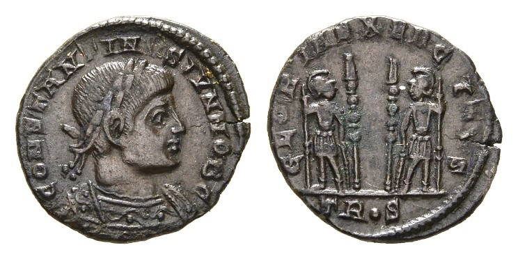 Ancient Coins - Constantine II, as Caesar, 317-337 AD. AE Follis (2.16 gm, 18mm). Treveri (Trier) mint. Struck 333-334 AD. LRBC 63