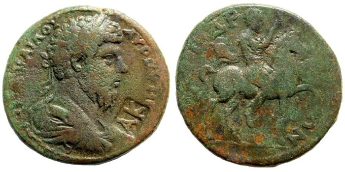 Ancient Coins - Kilikia, Syedra. Lucius Verus, 161-169 AD. AE 30mm (16.65 gm). SNG France 640; for countermark, Howgego, 514. Rare