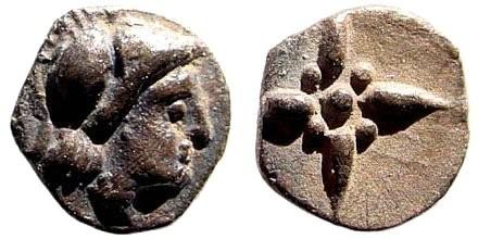 Ancient Coins - Asia Minor Uncertain. 5th century BC. AR Hemiobol (0.26 gm). Hauck & Aufhäuser 17, 43 (2003)