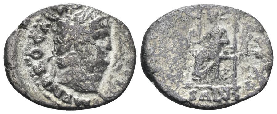 Ancient Coins - Nero. 54-68 AD. AR Denarius (2.40 gm, 20mm). Rome mint. Struck circa 67-68 AD. RIC I 71