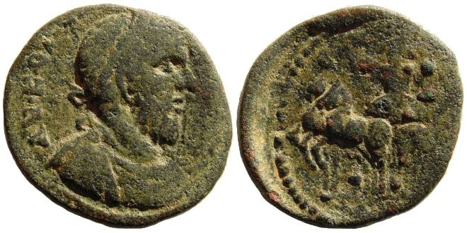Ancient Coins - Syria, Coele-Syria. Leucas. Macrinus. 217-218 AD. AE 25mm (15.07 gm). Lindgren-Kovacs A2187A