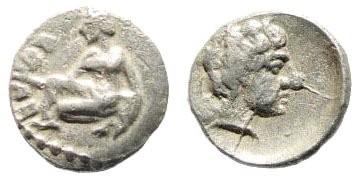 Ancient Coins - Cilicia, Tarsos. Circa 370 BC. AR Obol (0.58 gm, 10mm). SNG Levante 65; SNG France 239; SNG von Aulock -