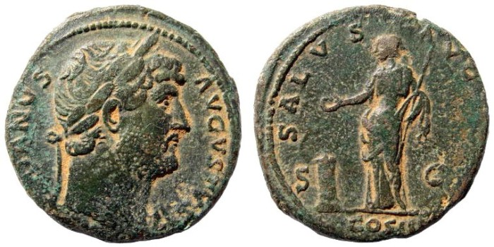 Ancient Coins - Hadrian, 117 - 138 AD. AE As (11.86 gm, 26mm). Rome mint, 125 - 128 AD. RIC 678; Cohen 1357