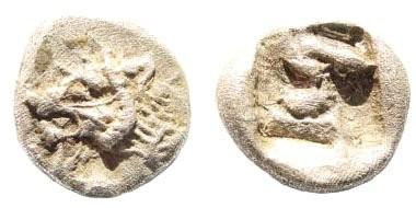Ancient Coins - Karia, Mylasa (?). Circa 520-490 BC. AR Persic Hemihekte (0.85 gm). Cf. SNG Kayan 931