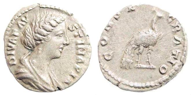 Ancient Coins - Diva Faustina Junior, died 175 AD. AR Denarius (3.14 gm, 18mm). Rome mint. Struck 176 AD. RIC III 744 (Marcus Aurelius)
