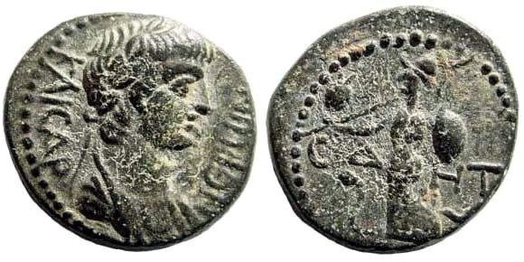 Ancient Coins - Pamphylia, Side, Nero, 54-68 AD. AE 17mm (4.51 gm.) ca. 55 AD. RPC 3401