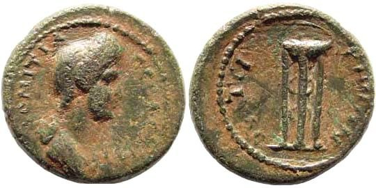 Ancient Coins - Lydia, Thyateira. Domitia, wife of Domitian, 81-96 AD. AE 18mm (2.93 gm). RPC II 945
