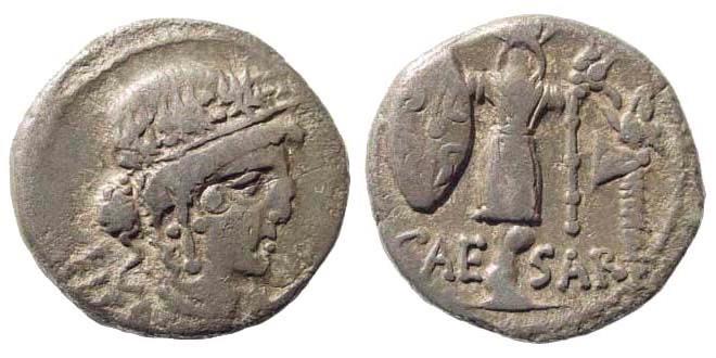 Ancient Coins - C. Julius Caesar, died 44 BC. AR Denarius (3.43 gm, 17mm). 48-47 BC. Crawford 452/2; Sydenham 1009
